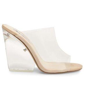 Clear high heel wedges